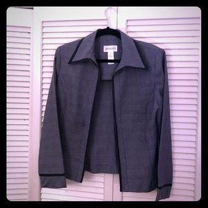 👒NEW👒EUC VTG Studio 1 grey plaid open blazer
